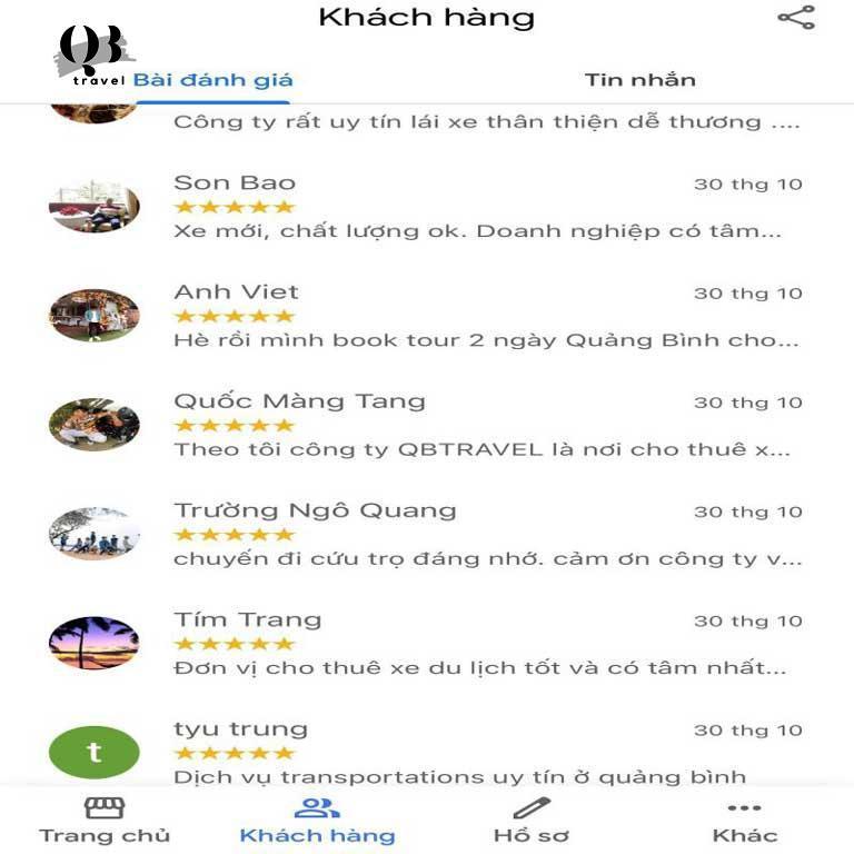 QBTravel luôn nhận được đánh giá cao từ phía khách hàng đã sử dụng dịch vụ thuê xe 16 chỗ tại Quảng Bình