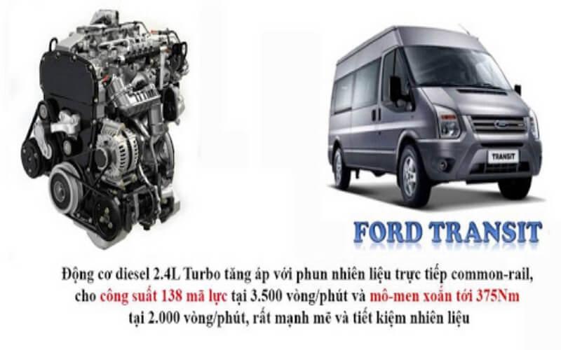Động cơ ô tô Ford Transit mạnh mẽ, bền bỉ phù hợp du lịch đường dài
