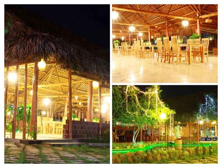 Nhà hàng Lá Cọ được xây dựng từ cọ, tre,... vô cùng độc lạ, bắt mắt và còn rất thân thiện với môi trường