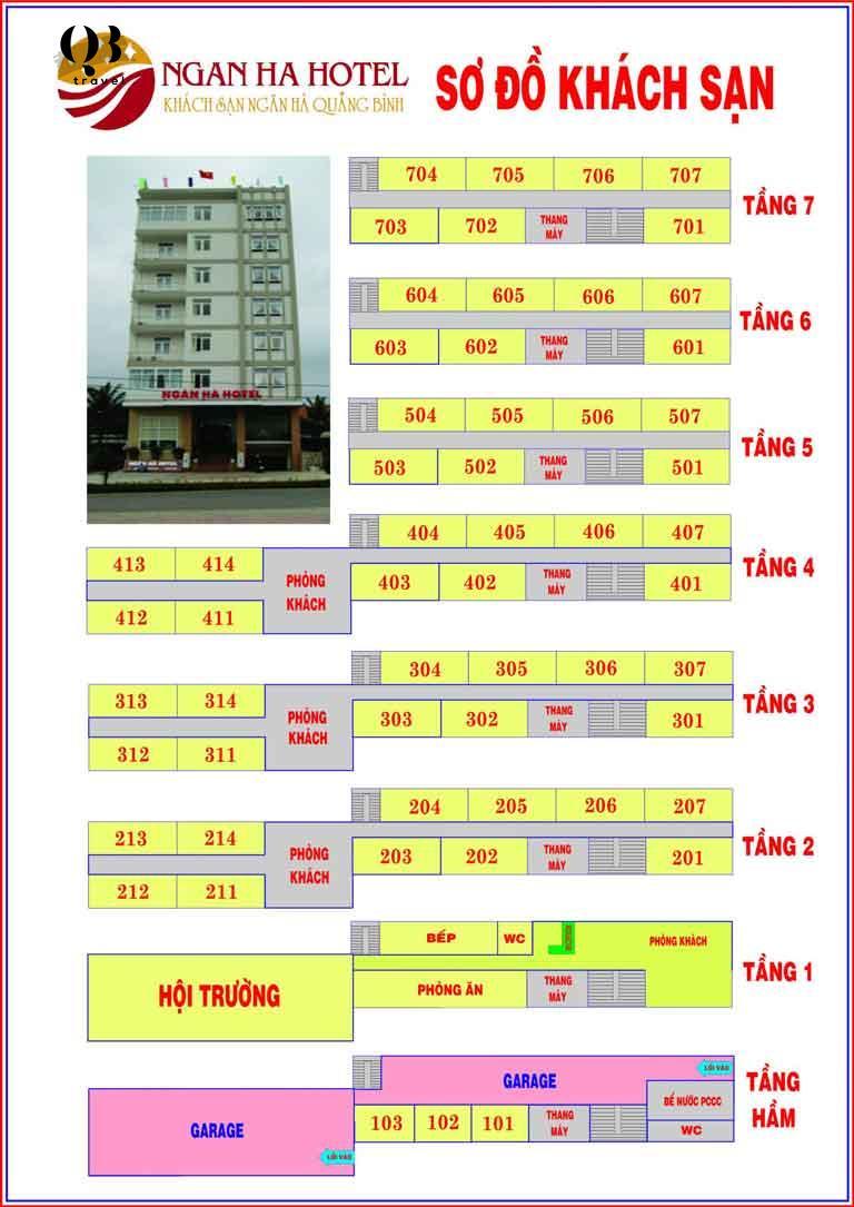 Sơ đồ khách sạn Ngân Hà Quảng Bình