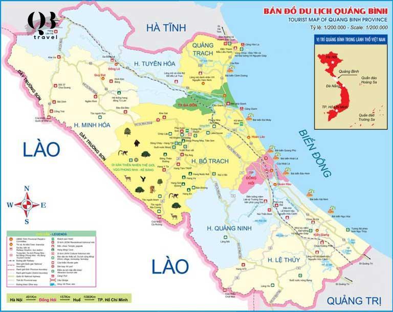 Bản đồ các địa điểm du lịch tại Quảng Bình chi tiết nhất