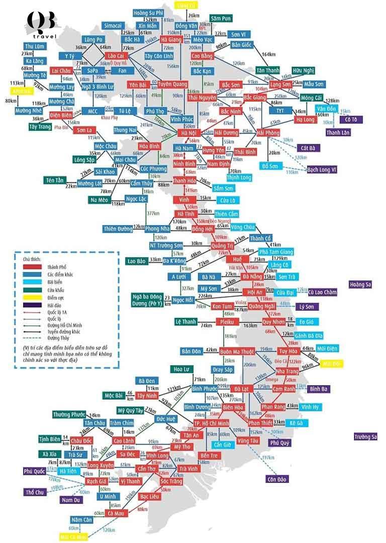 Bản đồ du lịch thu nhỏ của Việt Nam