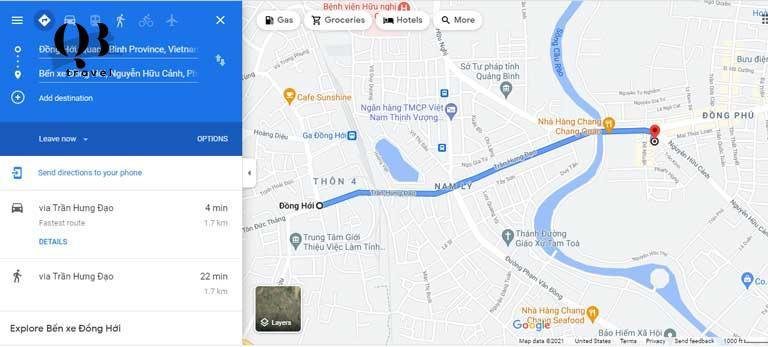 Bản đồ Đồng hới- Từ Bến xe đến Trung tâm thành phố