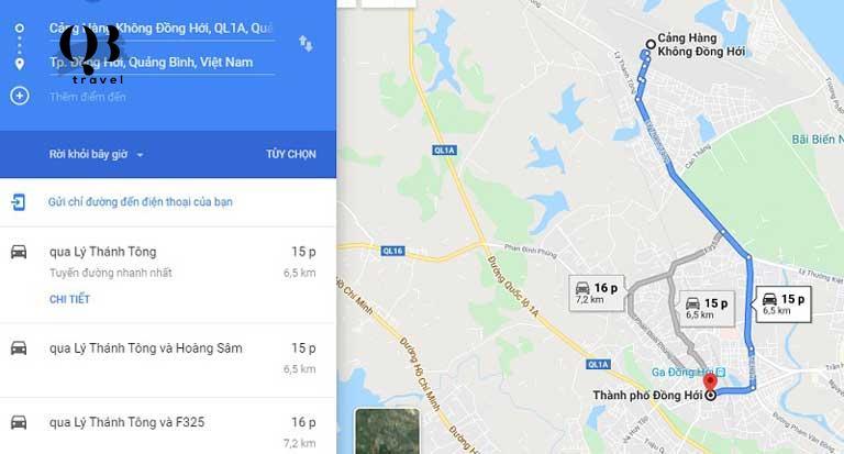 Bản đồ du lịch Đồng Hới - Từ Cảng hàng không đến trung tâm thành phố