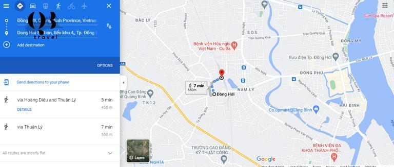Bản đồ Đồng hới- Từ Ga tàu hỏa đến Trung tâm thành phố