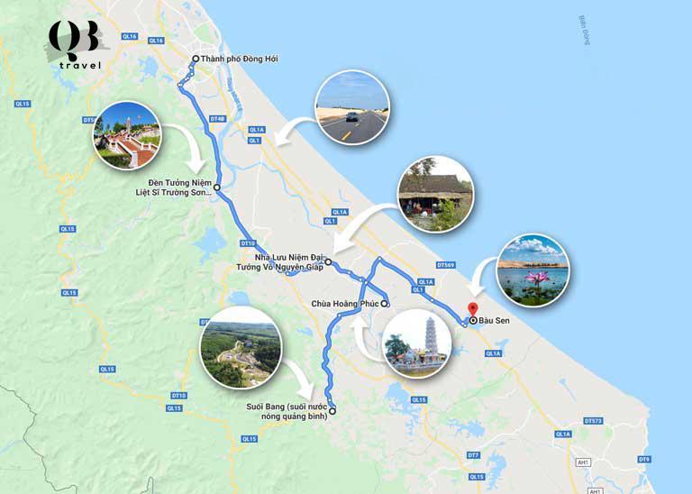 Bản đồ điểm du lịch theo hướng nam Quảng Bình