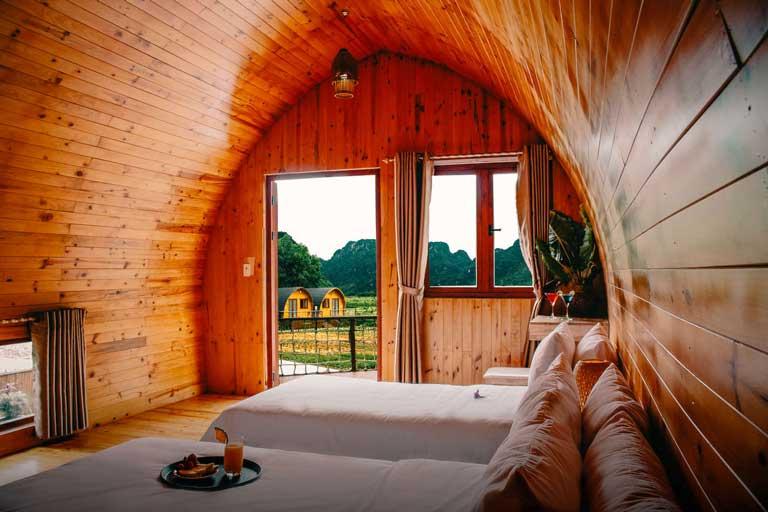 Chăn phòng được thiết kế với phong cách độc đáo ở Chày Lập Farmstay & Resort