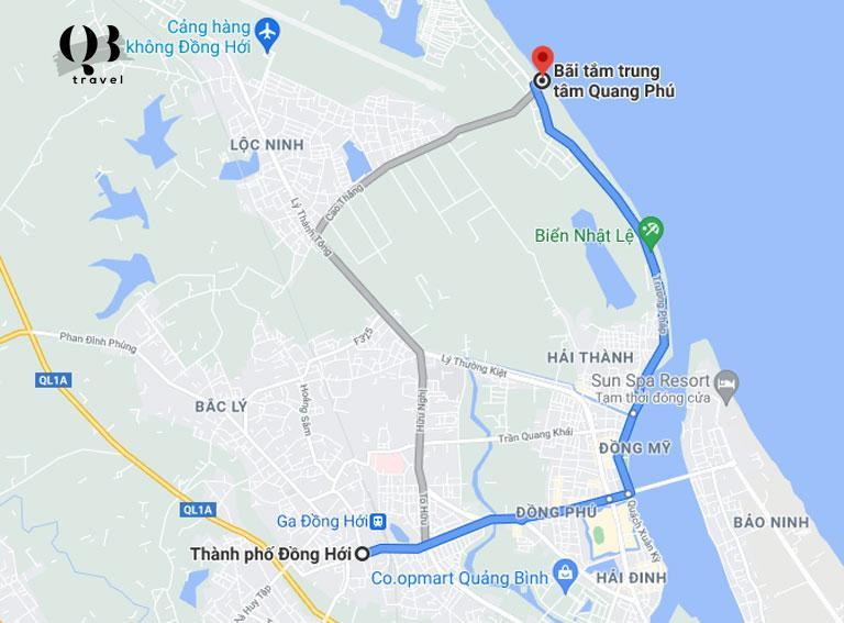 Hướng dẫn đường đi từ TP Đồng Hới tới bãi tắm Quang Phú