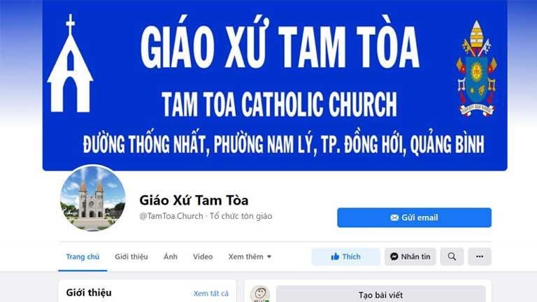 Trang fanpage của nhà thờ Tam Tòa Đồng Hới Quảng Bình, bạn có thể tham khảo giờ lễ tại đây