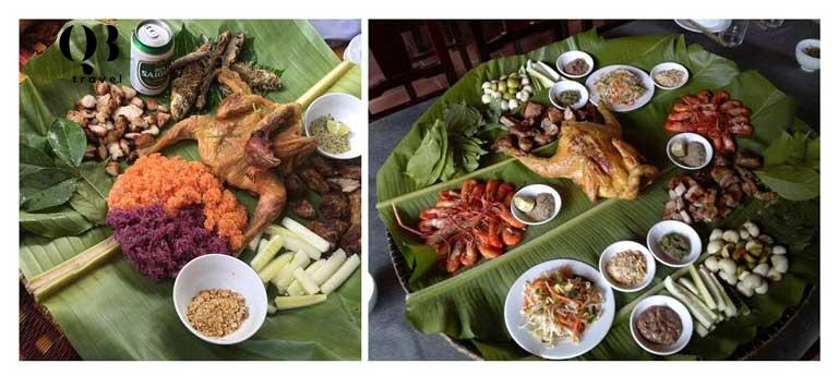 Mẹt đồ ăn đầy đủ trong thực đơn để du khách thưởng thức