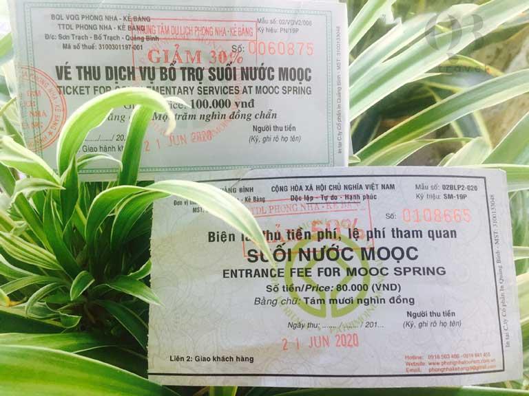 Giá vé vào cửa suối Moọc Quảng Bình là 80 nghìn đồng cho du khách cao trên 1,3m