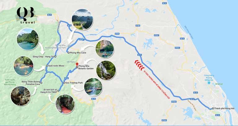 Bản đồ địa điểm du lịch theo tuyến thứ hai tham quan Phong Nha - Kẻ Bàng