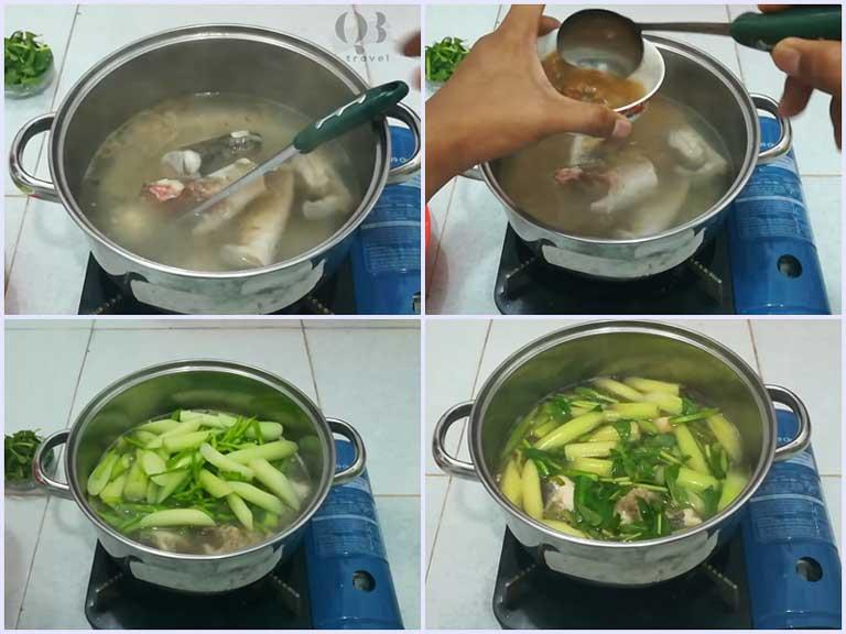 Các bước nấu canh chua xương rồng