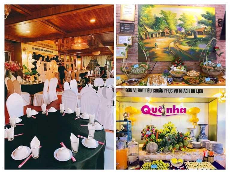 Nhà hàng Quê Nhà có diện tích rất lớn phù hợp cho sự kiện, hội nghị, đoàn khách du lịch,...