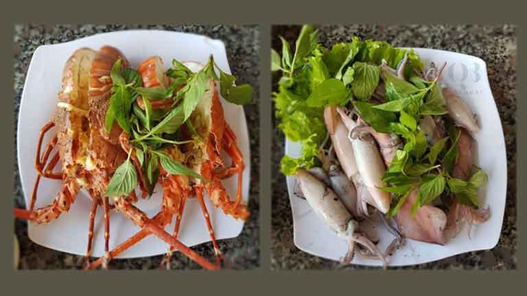 Các món ăn được phục vụ tại nhà hàng mực nhảy Đồng Hới, Quảng Bình